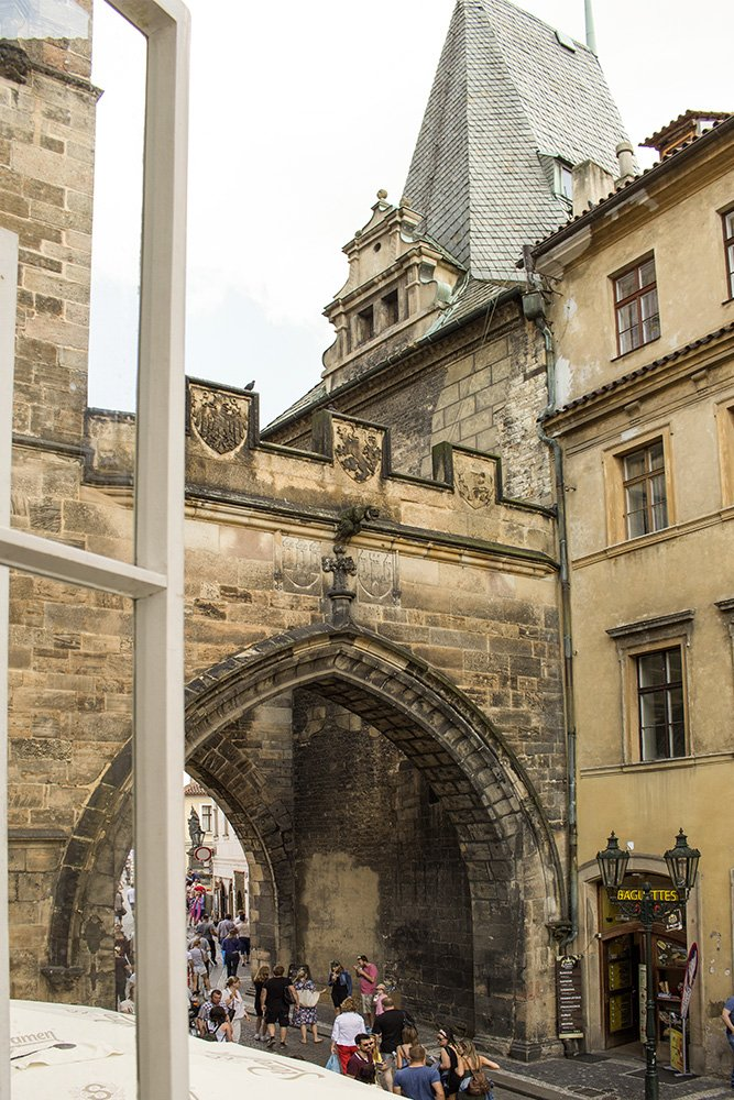 Where to stay in Prague, Czech Republic | Charles Bridge Tower from the hostel's window