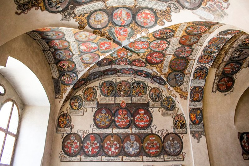 Coats of arms in the Old Royal Palace in Prague Castle