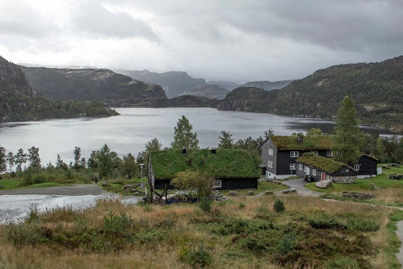 Preikestolen hike | View of Revsvatnet Lake from the mountain lodge
