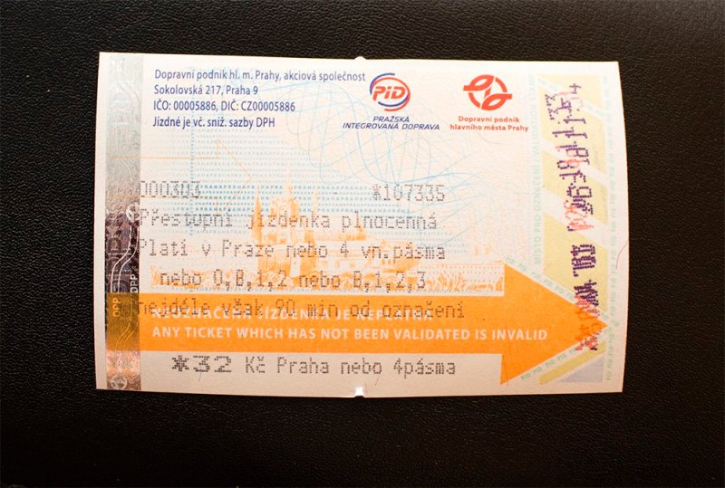 A ticket for Prague public transport