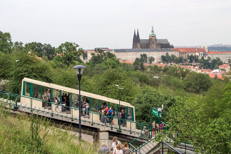 Funicular train to Petrin Hill in Prague