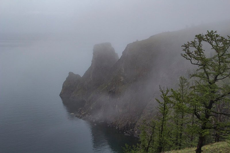 Khoboy Cape during the fog in Olkhon