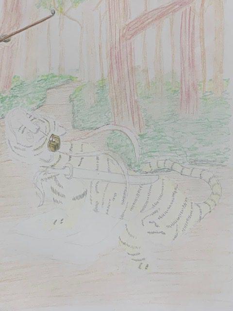 色鉛筆 虎の威を借る狐 昔話 イラスト