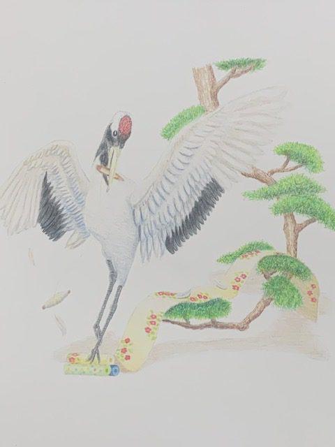 色鉛筆 鶴の恩返し 昔話 イラスト