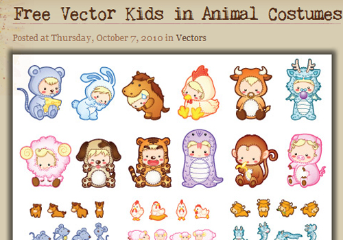 free_vector_kids_in_animal_sostumes