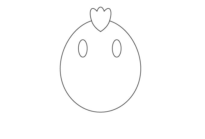 楕円形ツールで片目を描く。複製して両目完成