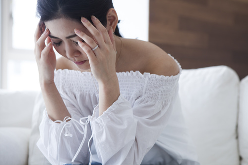 Young women are troubled with headache