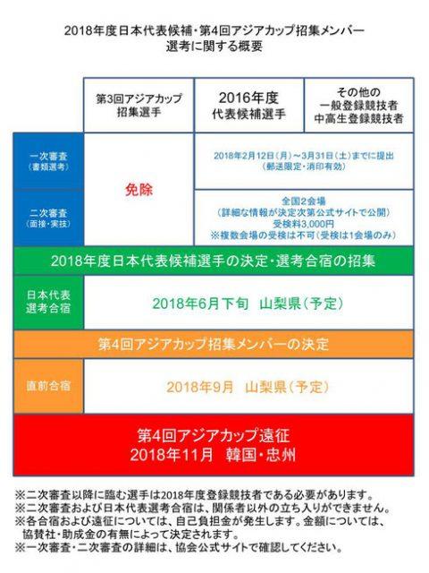 日本代表候補受検からアジアカップ招集までの概要