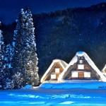 冬の白川郷合掌造り集落ライトアップ