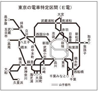東京の電車特定区間の図です