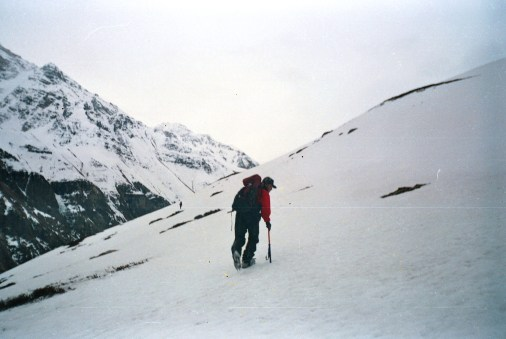 Trudging up the icy slopes