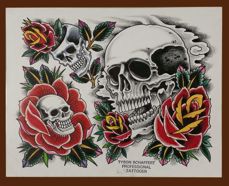 Skull Inside Rose Tattoo