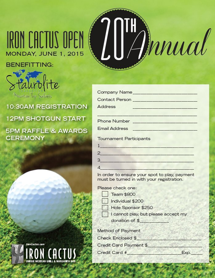 Won't you also consider signing up for one of several sponsorship opportunities being offered this year (see the enclosed sponsor form). 20 Reasons To Play The 20th Annual Iron Cactus Charity Golf Tournament On June 1st Iron Cactus