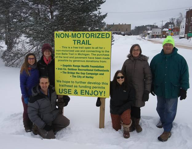 ICORE board members and GRHF members at the Hurley Non-Motorized trail head sign