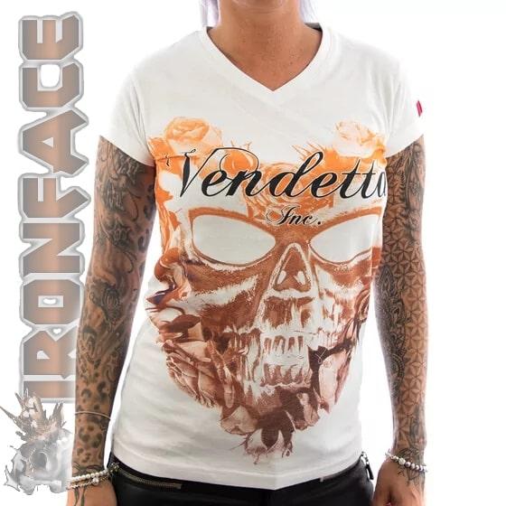 vendettainc shirt flower skull weiss