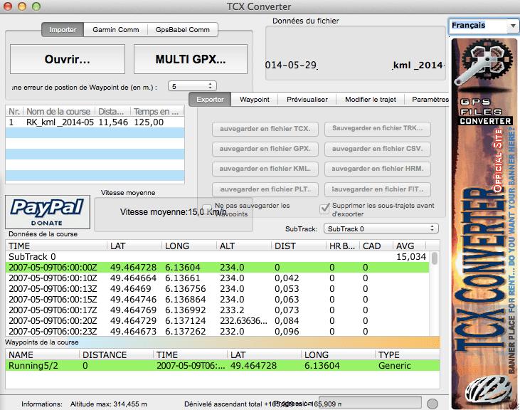 Convertir vos fichiers Runkeeper en Garmin - TCX Converter