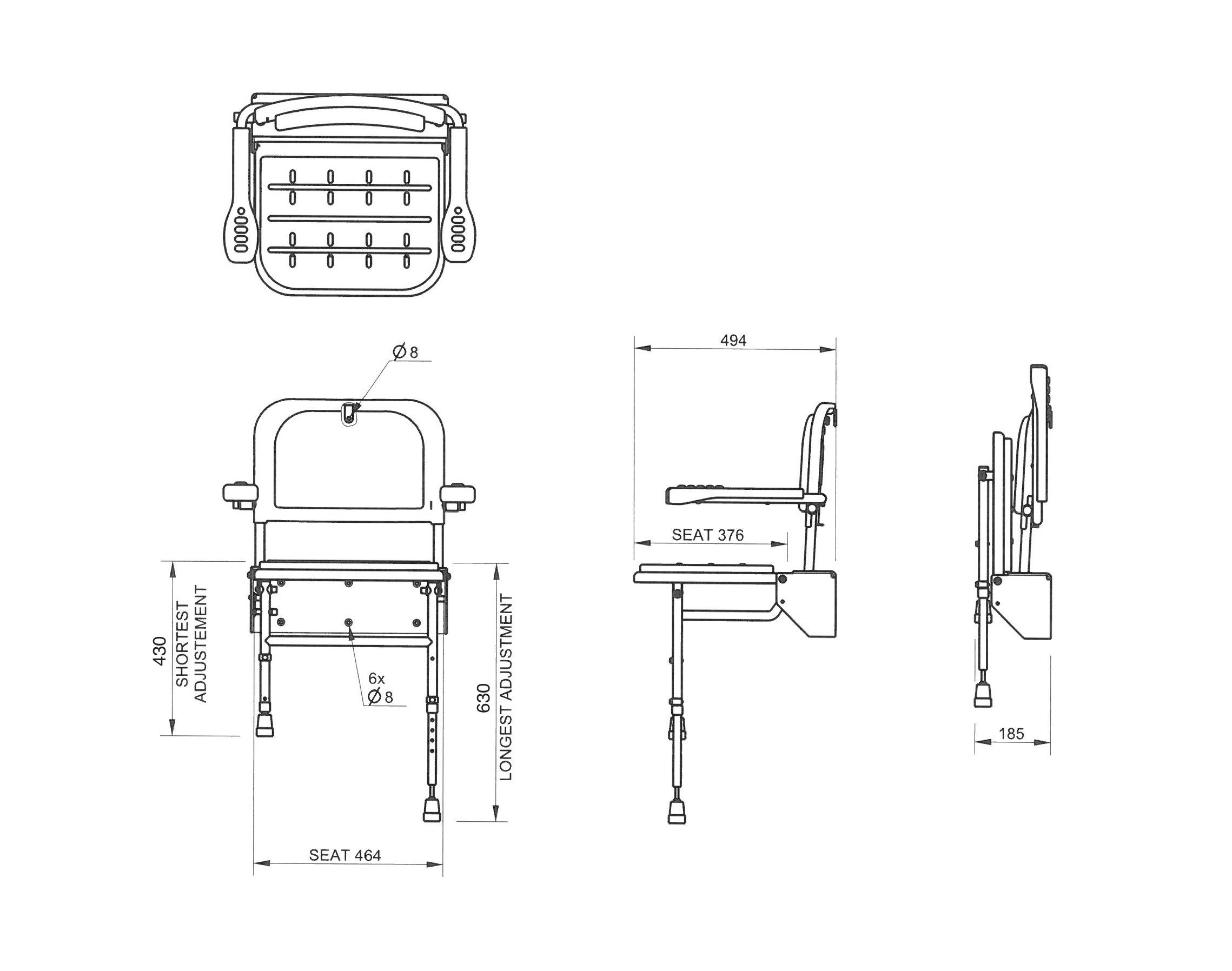 Nymas Standard Wall Mounted Shower Seat