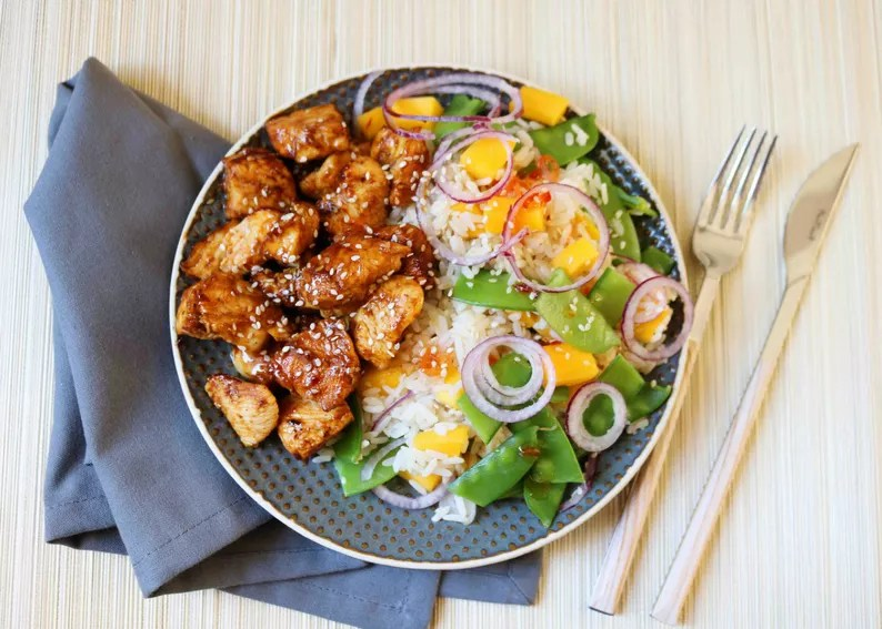Mango Rice with Sticky Chicken by Iron Paradise Fitness