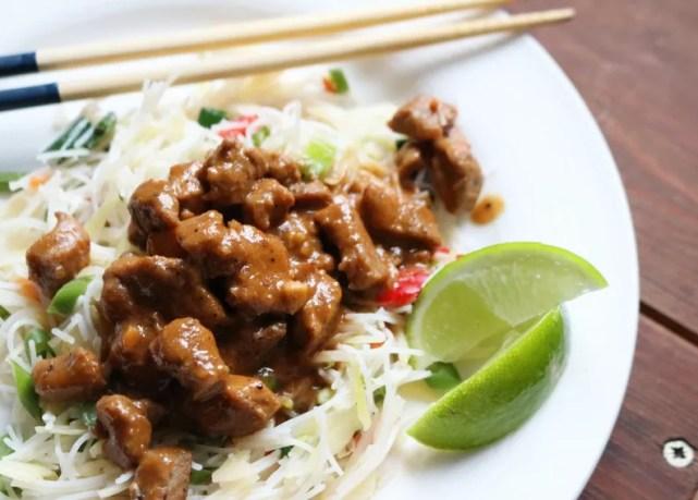 Macro Friendly Recipes - Pork Satay with Asian Noodles