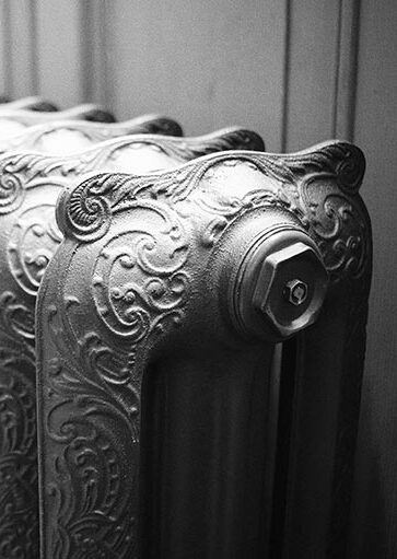 Ironworks Radiators Inc. refurbished cast iron radiator with detail