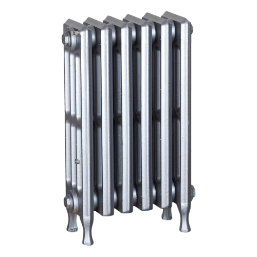 Ironworks Radiators Inc. refurbished cast iron radiator Pape in Pewter metallic
