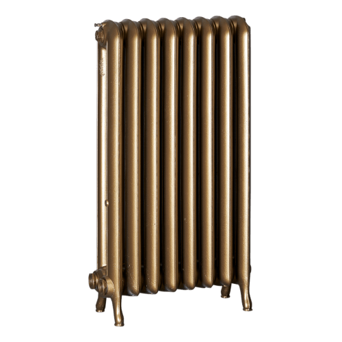Ironworks Radiators Inc. refurbished cast iron radiator Avalon in Brass metallic