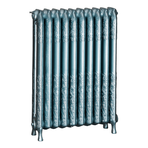 Ironworks Radiators Inc. refurbished cast iron radiator Beethoven in Teal metallic