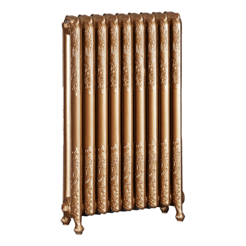 Ironworks Radiators Inc. refurbished cast iron radiator Freemont in Pale Gold metallic