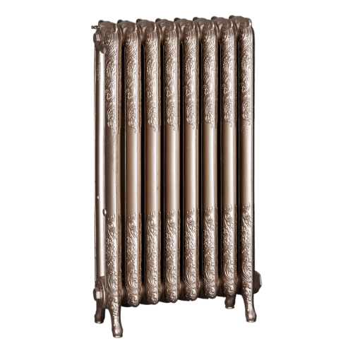 Ironworks Radiators Inc. refurbished cast iron radiator Harbord in Warm Silver metallic