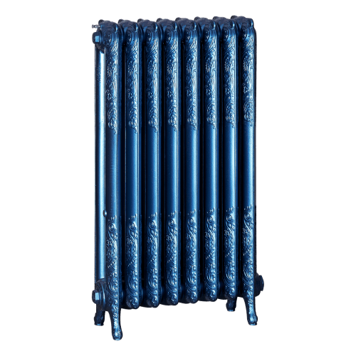 Ironworks Radiators Inc. refurbished cast iron radiator Humewood in Sapphire metallic