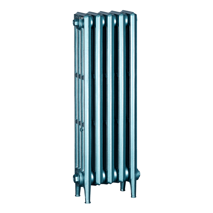 Ironworks Radiators Inc. refurbished cast iron radiator Quentin in Mystical Green metallic