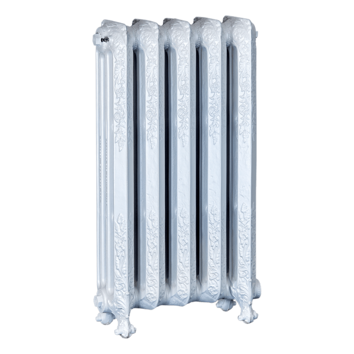 Ironworks Radiators Inc. refurbished cast iron radiator Riverside in Snowflake metallic
