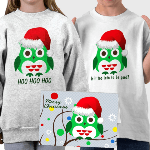 Trendy Christmas Owl Merchandise and Products. A cute green Christmas owl some on a trendy Christmas tree with colorful Christmas balls.