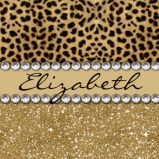 Leopard Spot with Gold Glitter Rhinestone Print Pattern