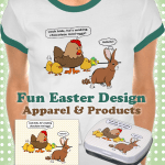 Funny Easter Bunny and Chicken