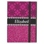 Pink Glitter And Black Pattern Rhinestone