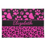 Leopard Paw Print Pink And Black Personalize Gifts