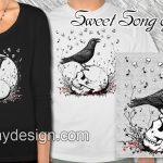 Raven Sings Song of Death on Skull Illustration