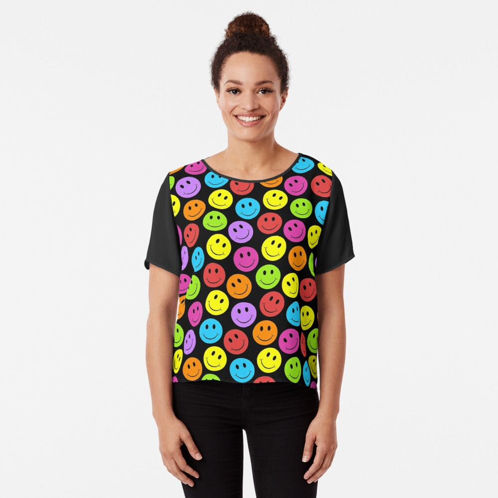 Happy Colorful Smiling Chiffon Top