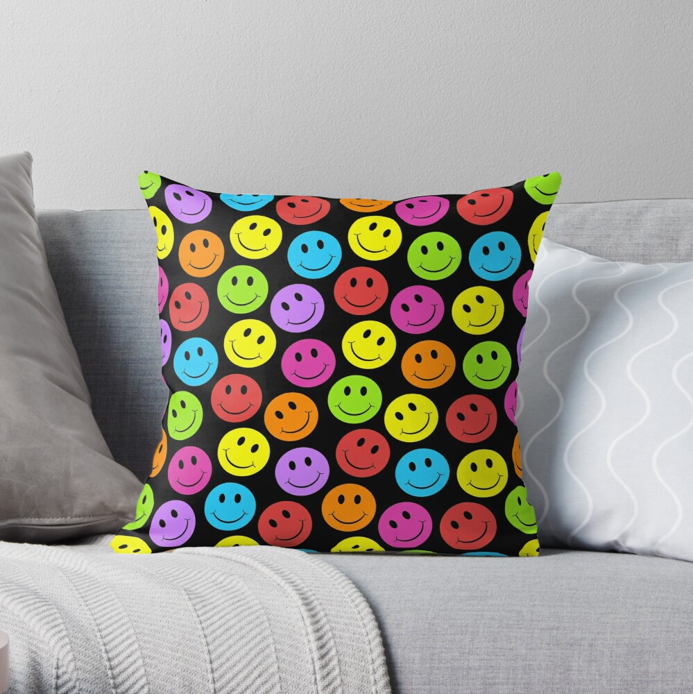 Happy Colorful Smiling Throw Pillow