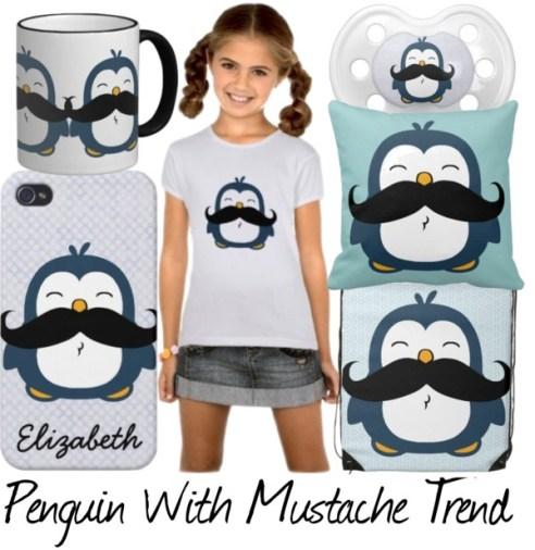 Mustache Penguin Merchandise - A cute blue chubby penguin with a huge black trendy mustache.