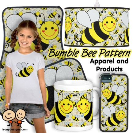 Cute Bumble Bee Pattern Design - A big yellow and black bumble bee with a bee pattern with some flowers, hearts, swirls, twirls, and bee trails on over 170 merchandise.