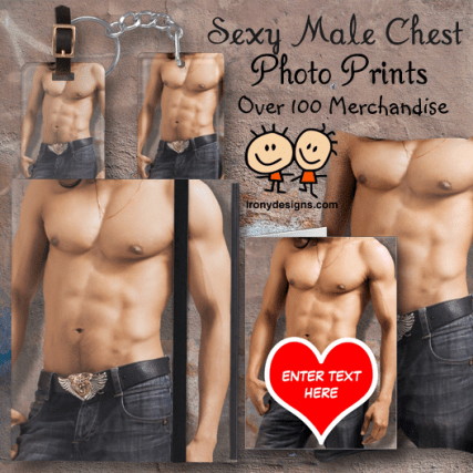 Sexy Male Chest Image Merchandise - Picture of a muscled and tone male's chest with flawless skin and wearing jeans on a grunge / distressed cement background. You can customize it and personalize it.