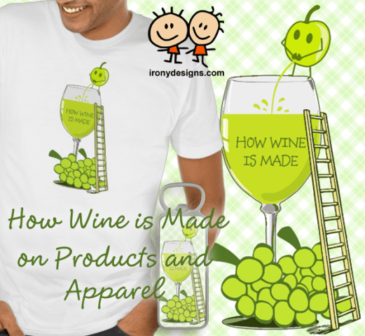 How Wine is Made Funny Illustration Merchandise A green grape showing how wine is made by peeing in a wine glass. Funny and silly illustration. Light green / lime plaid background. Wine Glass with a ladder so the grape can climb.