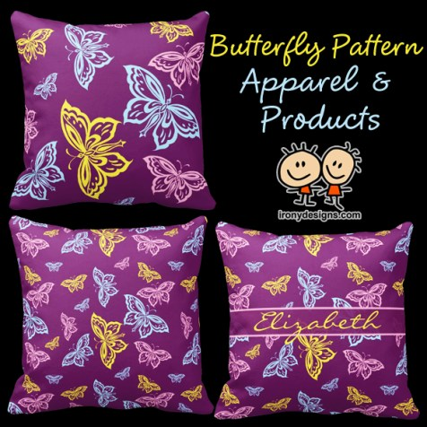 Purple Butterfly Pattern with Yellow, blue, and pink butterflies. Butterfly Pattern Gifts