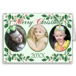 Custom Photo Holly Berries Christmas Cards