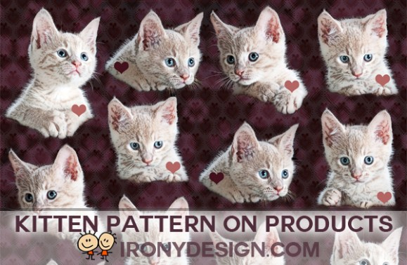 Cute Kittens Pattern Merchandise Products. White baby kitty cats with blue eyes in a pattern with a purple background with pink and purple hearts and paw prints background image art design. Great for cal lovers. On over 200 products and apparel.