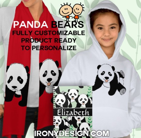 Panda Bears Gift Products  Cute black and white panda bear cubs as a pattern, some with bamboos and a green background that you can customize. Personalize this Panda bear design with any name.