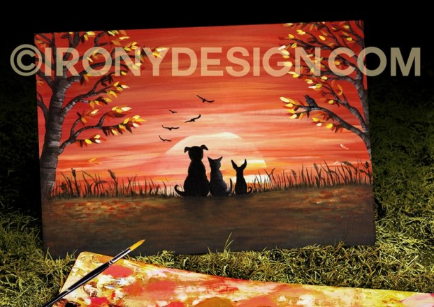 Autumn Sunset Painting Art Product