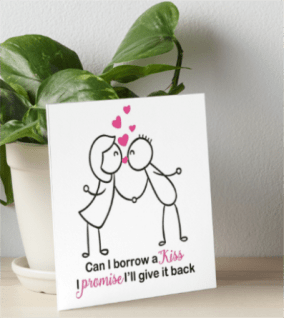 Cute Stick Figure Couple Kissing Art Board